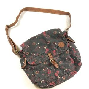 ROXY grey floral canvas crossbody book bag purse